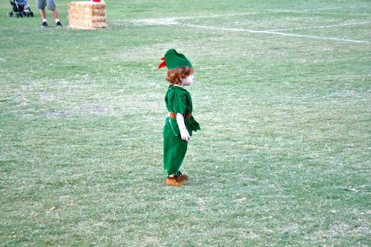 <p>When he was one, I dressed C.J. as Robin Hood. He had fringed brown moccasins and a green velvet hat with a red feather on top, his auburn curls peeking out below. </p>