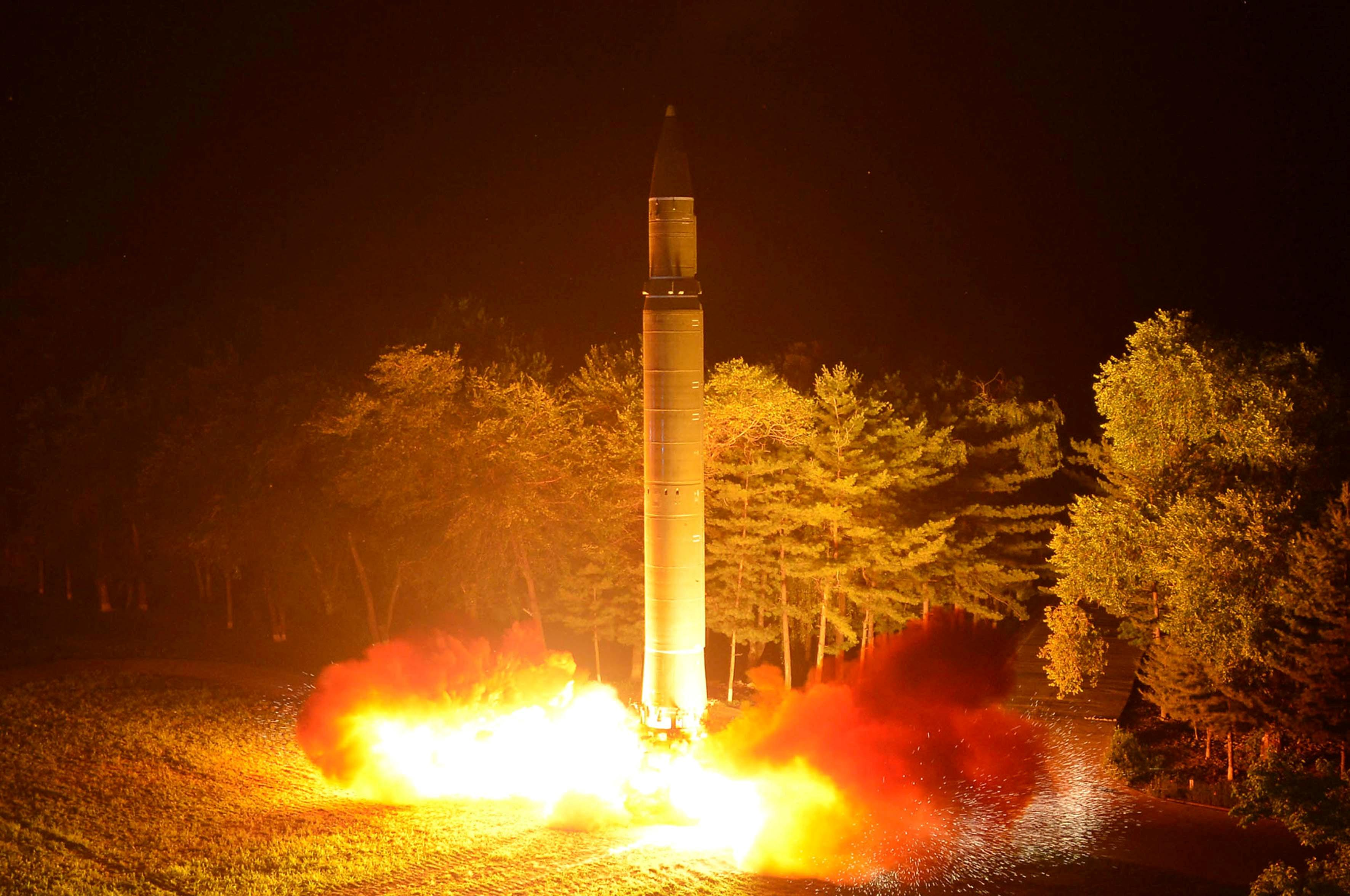 <p>Intercontinental ballistic missile (ICBM) Hwasong-14 is pictured during its second test-fire in this undated picture provided by KCNA in Pyongyang on July 29, 2017. (Photo: KCNA via Reuters) </p>