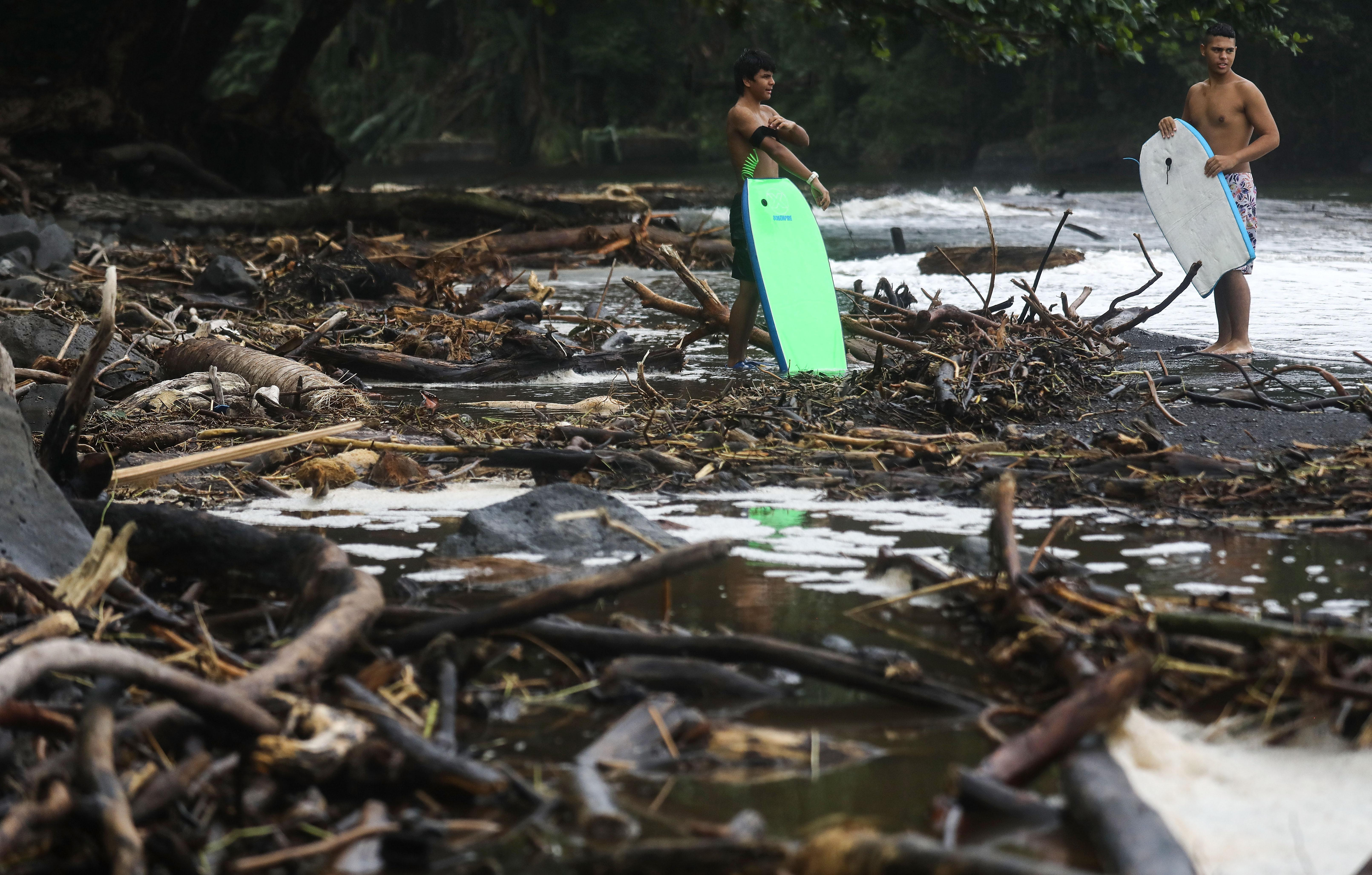 <p>Bodyboarders wait to enter the ocean near the remains of trees destroyed by flooding from the former Hurricane Lane at Honoli'i Beach Park on Aug. 26, 2018 in Hilo, Hawaii. (Photo: Mario Tama/Getty Images) </p>