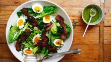 Romaine Salad with Bacon, 5-Minute Eggs and Pesto Dressing