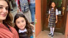 Rafa Brites leva sobrinha para escola em NY e invade sala de aula