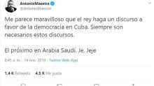 Críticas al Rey por su doble vara de medir en Cuba y Arabia Saudí
