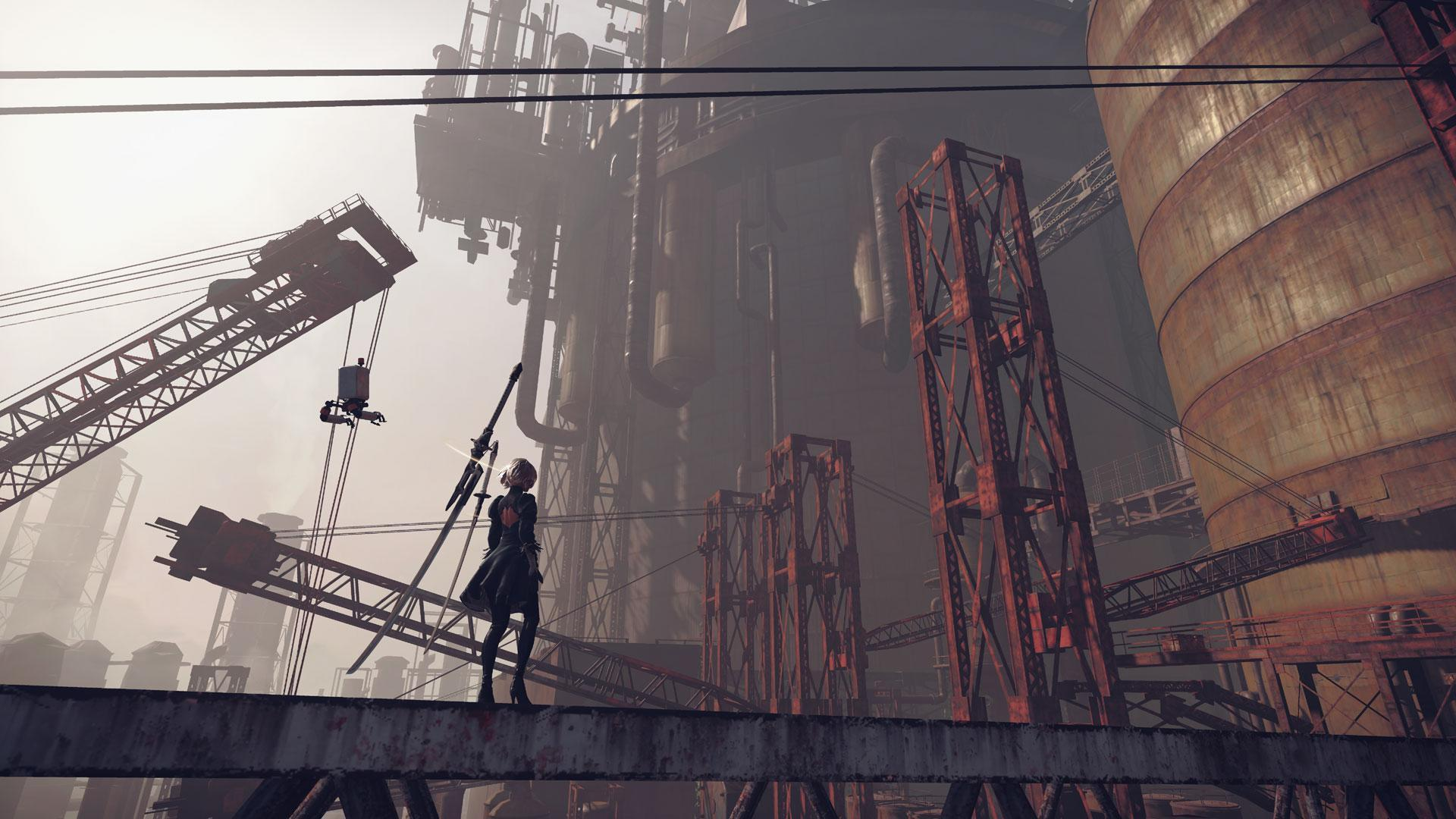'NieR Automata' centers on 2B, a combat android fighting a mysterious robot army.