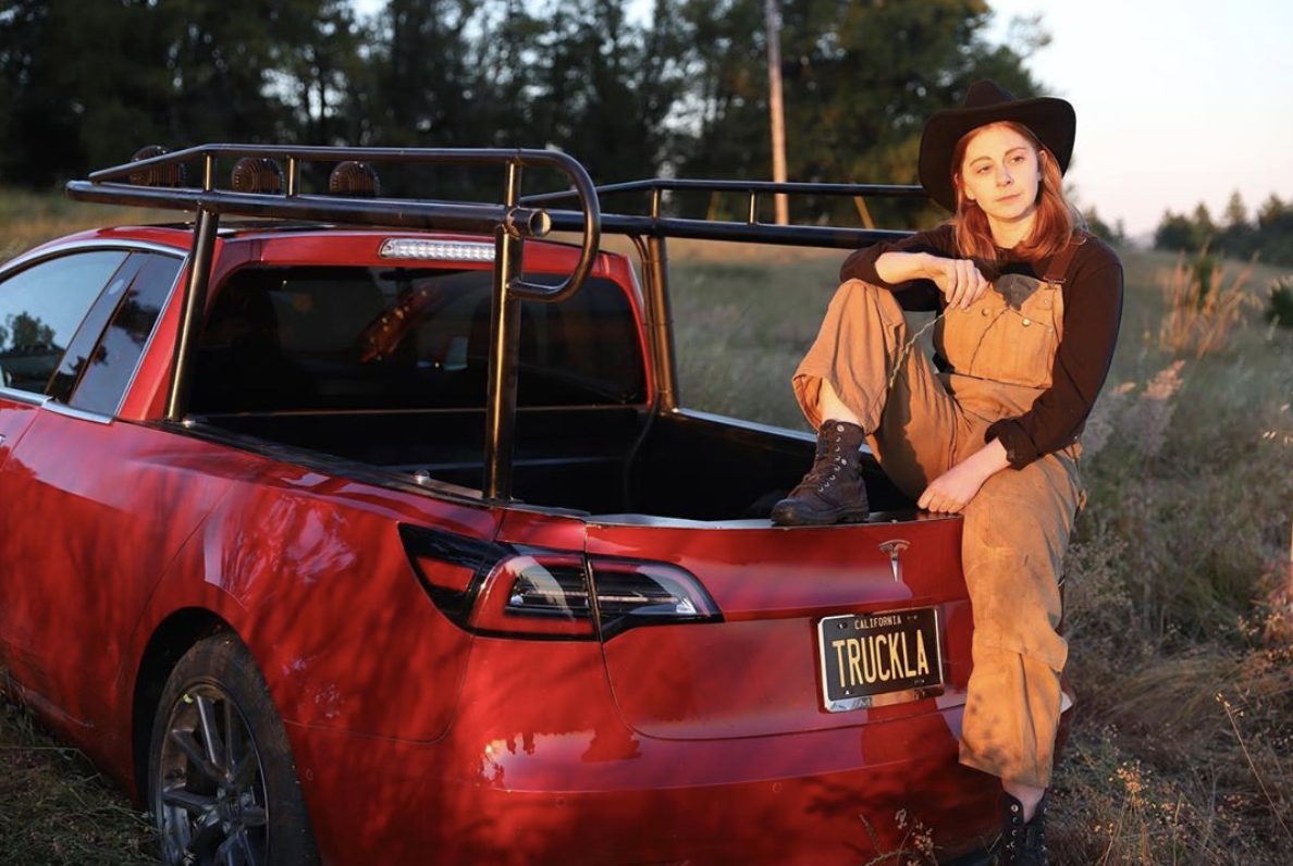 Tesla electric pickup truck homemade by YouTube robotics guru Simone