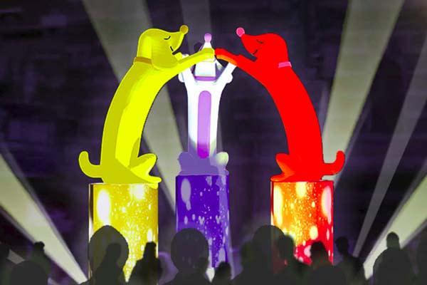 三隻狗狗代表臺灣在地價值與世代傳承的融合意象,象徵「全力」去追求幸福!(圖/2018台北燈節,以下同)