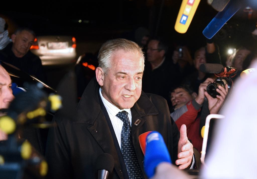 Former Croatian prime minister Ivo Sanader speaks to the press after leaving Remetinec prison in Zagreb, on November 25, 2015