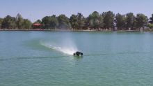 RC truck speeds across water without sinking