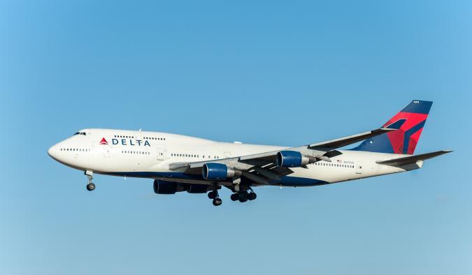 Narita, Japan - January 25, 2017: N674US Boeing 747 Delta Air Lines Landing in International Narita Airport, Japan.