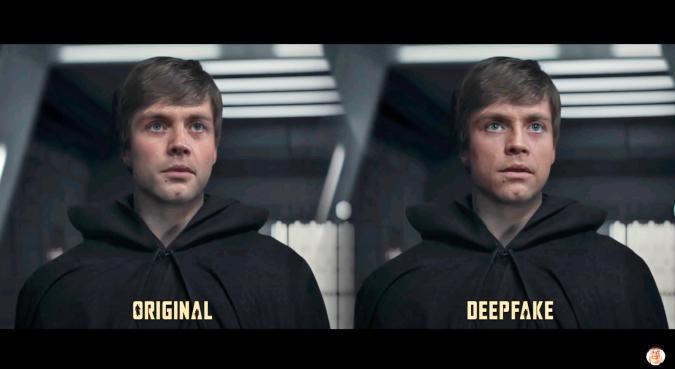 A side-by-side image comparison of a deepfake Luke Skywalker.