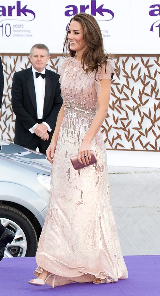 Kate attended the 10th Annual ARK Gala Dinner in a stunning floor-length embellished Jenny Packham gown.