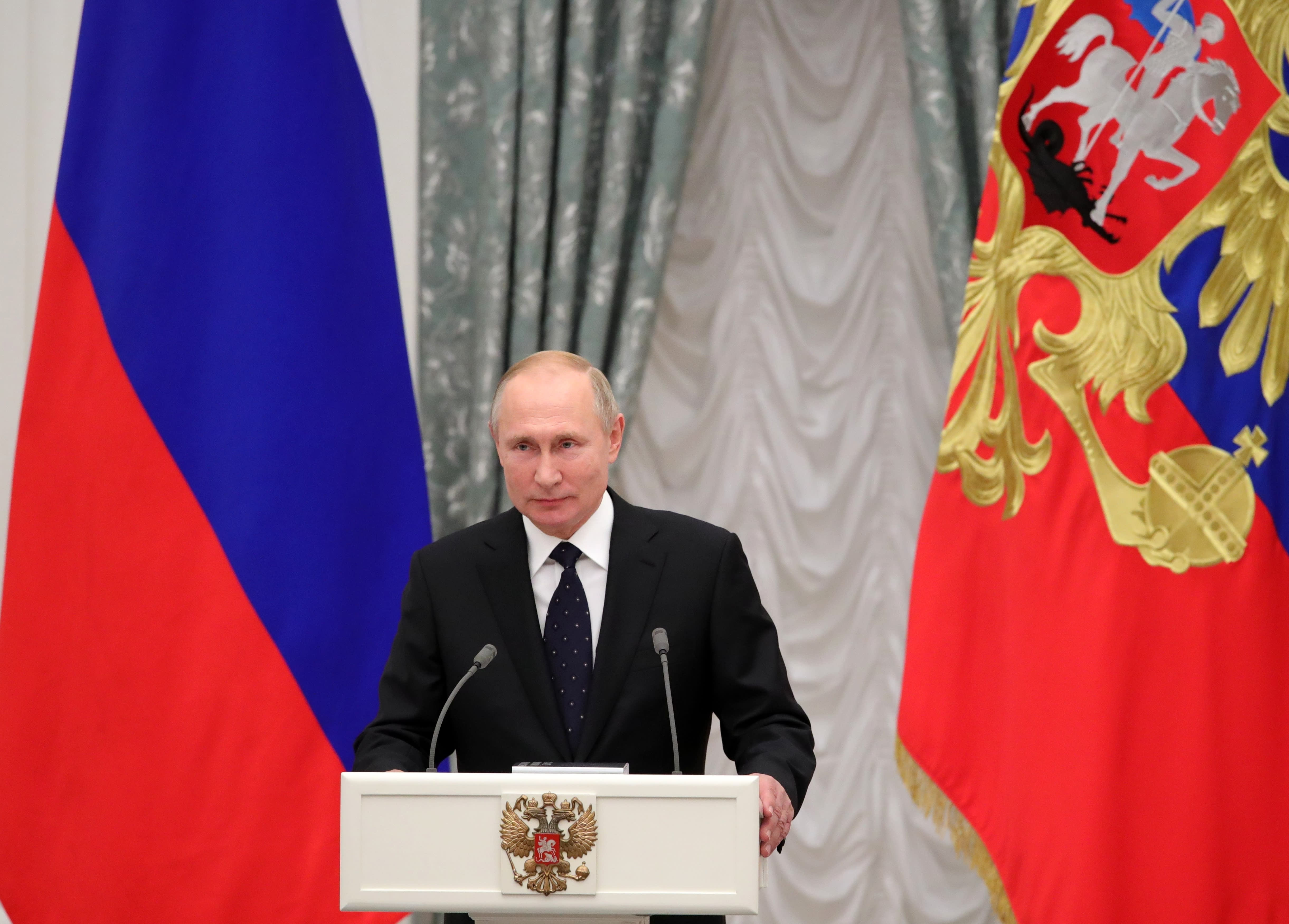 Russian President Vladimir Putin delivers his speech at the State Awards ceremony in the Kremlin in Moscow, Russia, Thursday, Nov. 21, 2019. (Alexei Druzhinin, Sputnik, Kremlin Pool Photo via AP)