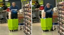Supermarket worker's shocking act while cleaning shopping baskets