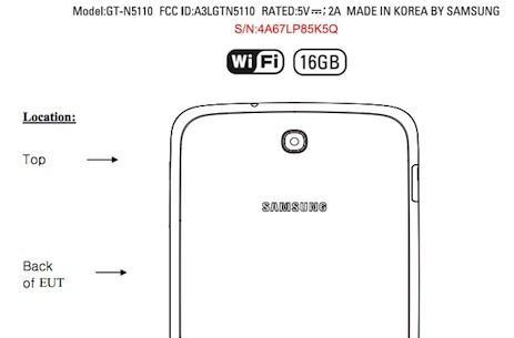 Samsung GT-N5110 passes through the FCC, leaves a Galaxy Note 8.0-size hole
