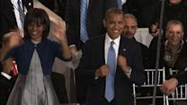 Obama grooves to jazz band in inaugural parade