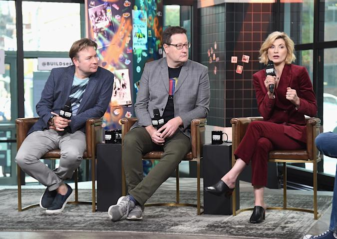 NEW YORK, NY - OCTOBER 05:  (L-R) Producer Matt Strevens, writer Chris Chibnall and actress Jodie Whittaker visit Build Series to discuss the series 'Doctor Who' at Build Studio on October 5, 2018 in New York City.  (Photo by Gary Gershoff/Getty Images)