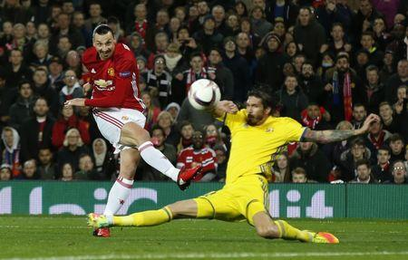 Manchester United's Zlatan Ibrahimovic shoots against the post