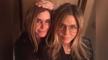 Courteney Cox pulls off scarily good Jennifer Aniston transformation to celebrate pal's birthday