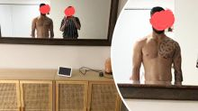 Kmart fans spot shirtless man in mum's photo: 'Hot husband'