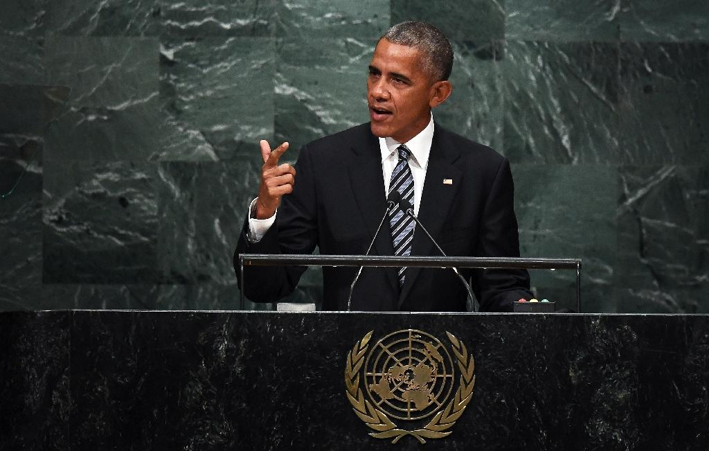 """we're going to have to pursue the hard work of the diplomacy that aims to stop the violence and deliver aid to those in need,"""" US President Barack Obama told the United Nations (AFP Photo/Jewel Samad)"""