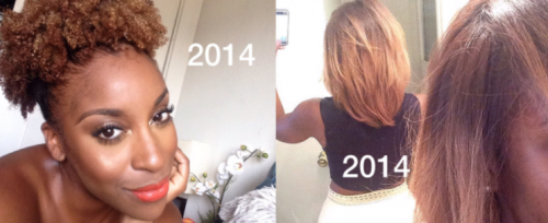 Beauty blogger gives a lesson in hair shrinkage. (Photo: Twitter/ Jackieaina)