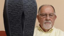 Pensioner, 81, is 'outraged' because he reckons the soles of his slippers are covered in swastikas
