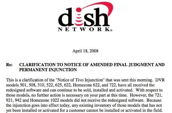 DISH Network says some models of DVR can no longer be sold