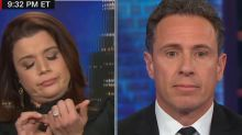 CNN contributor Ana Navarro files her nails on air during debate over border wall