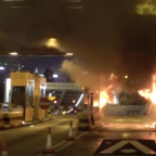 Hong Kong Cross-Harbour Tunnel Toll Booths Burn During Evening of Constant Protests