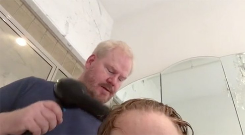 Watch Jim Gaffigan blow dry his wife's hair after her brain surgery
