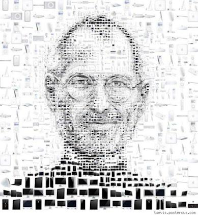 Steve Jobs portrait made out of Apple products mosaic