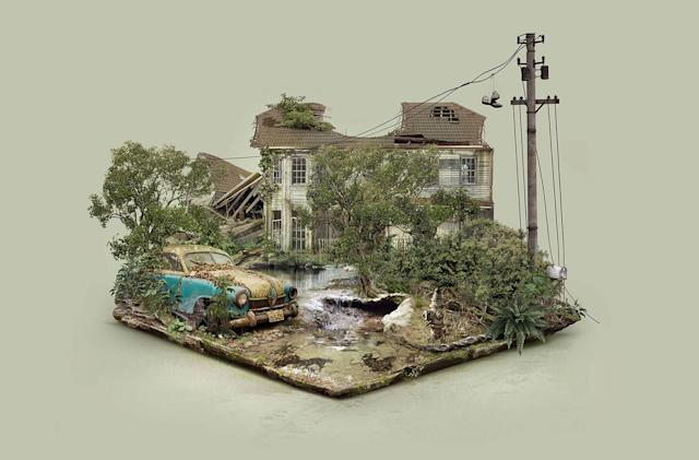 Haunting 'Abandoned Places' float in digital space