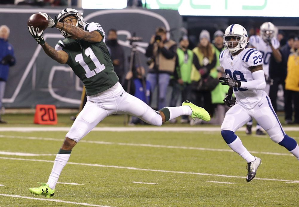 Robby Anderson stretches for a pass against the Colts last season. (AP)