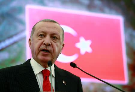FILE PHOTO: Turkish President Erdogan speaks at North Atlantic Council Mediterranean Dialogue Meeting in Ankara