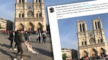 Man and girl in viral photo outside Notre Dame cathedral found