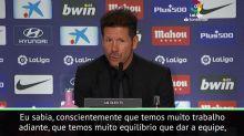 """FUTEBOL: La Liga: Simeone: """"Não busco culpados, somente trabalho"""""""