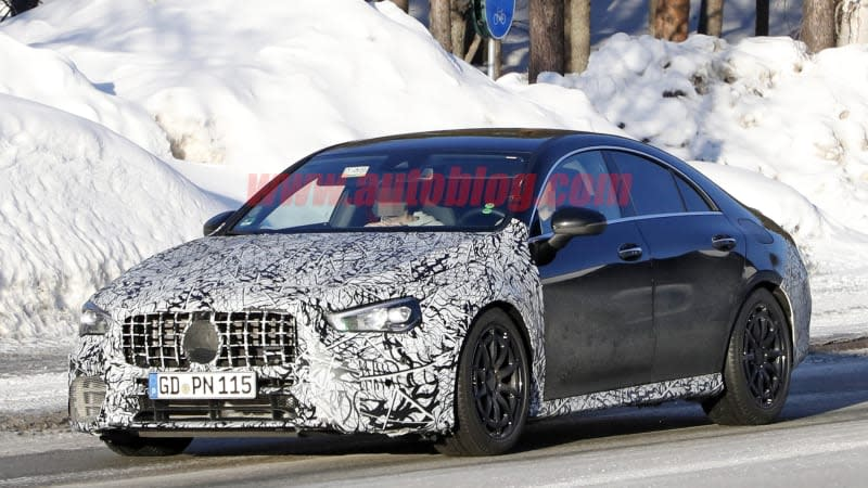 2020 mercedes amg cla 45 spied testing in snowy europe. Black Bedroom Furniture Sets. Home Design Ideas