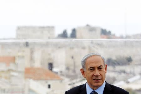 Israel's Prime Minister Netanyahu speaks during a news conference in Jerusalem