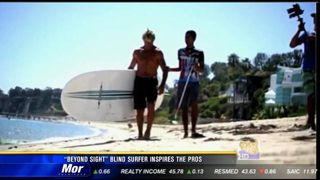 'Beyond Sight' blind surfer inspires the pros