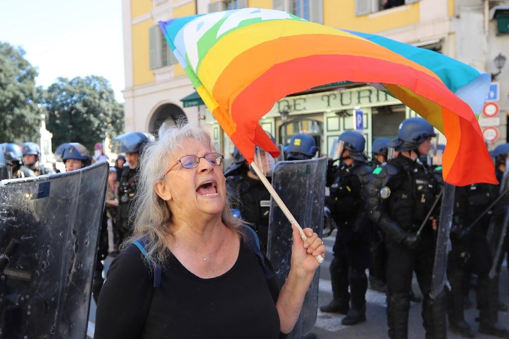 Genevieve Legay was injured during a fall after being shoved by police in Nice (AFP Photo/Valery HACHE)