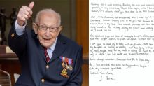 'Tomorrow will be a good day': Captain Tom Moore sends touching letter on 100th birthday as fundraising hits £31m