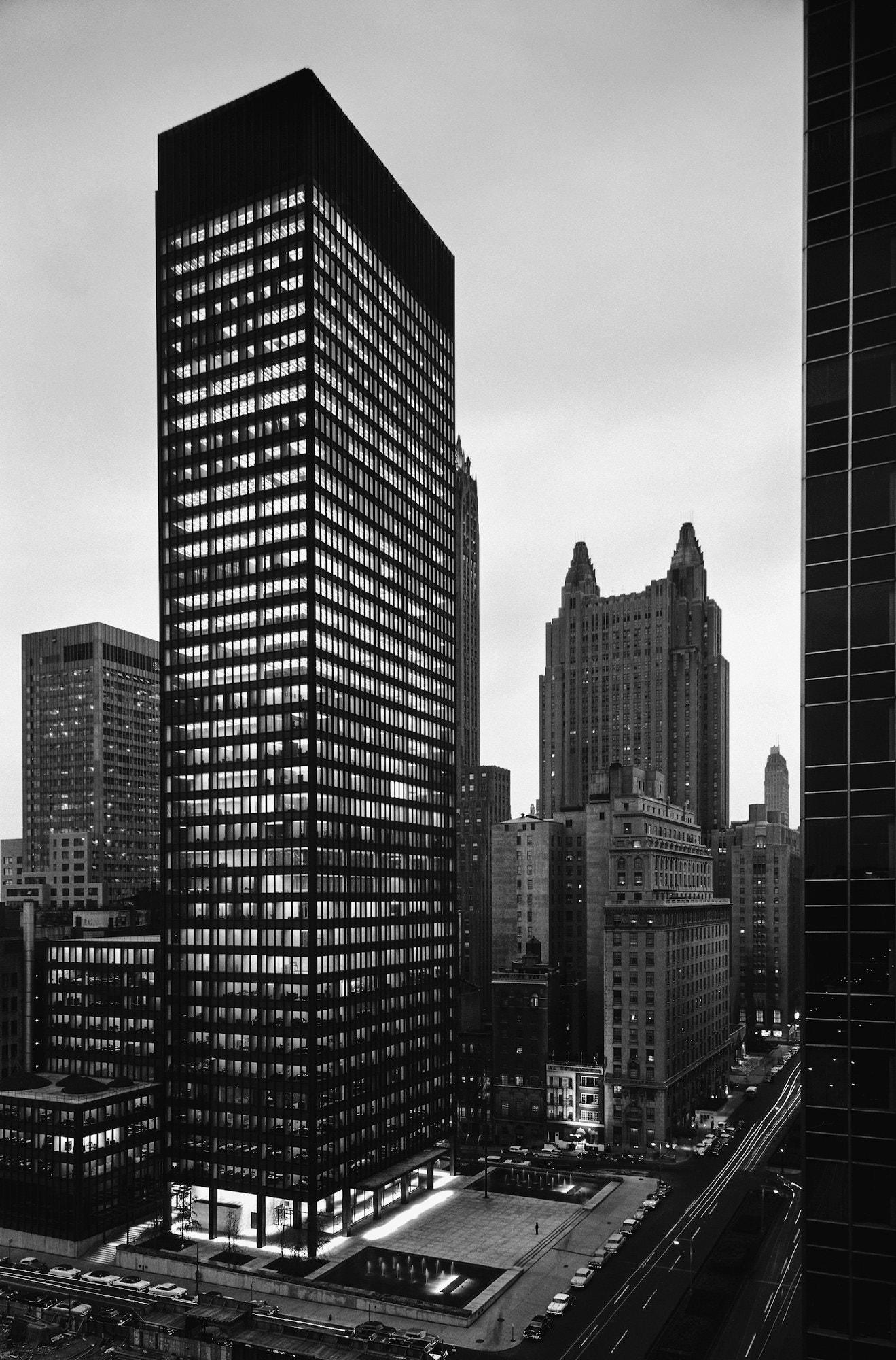 The photographer captured Ludwig Mies van der Rohe's iconic Seagram Building in New York City in 1958, the year it was completed.