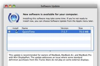 Quicktime 7.5.7 update cleans up HDCP Macbook issues, but only on SD vids