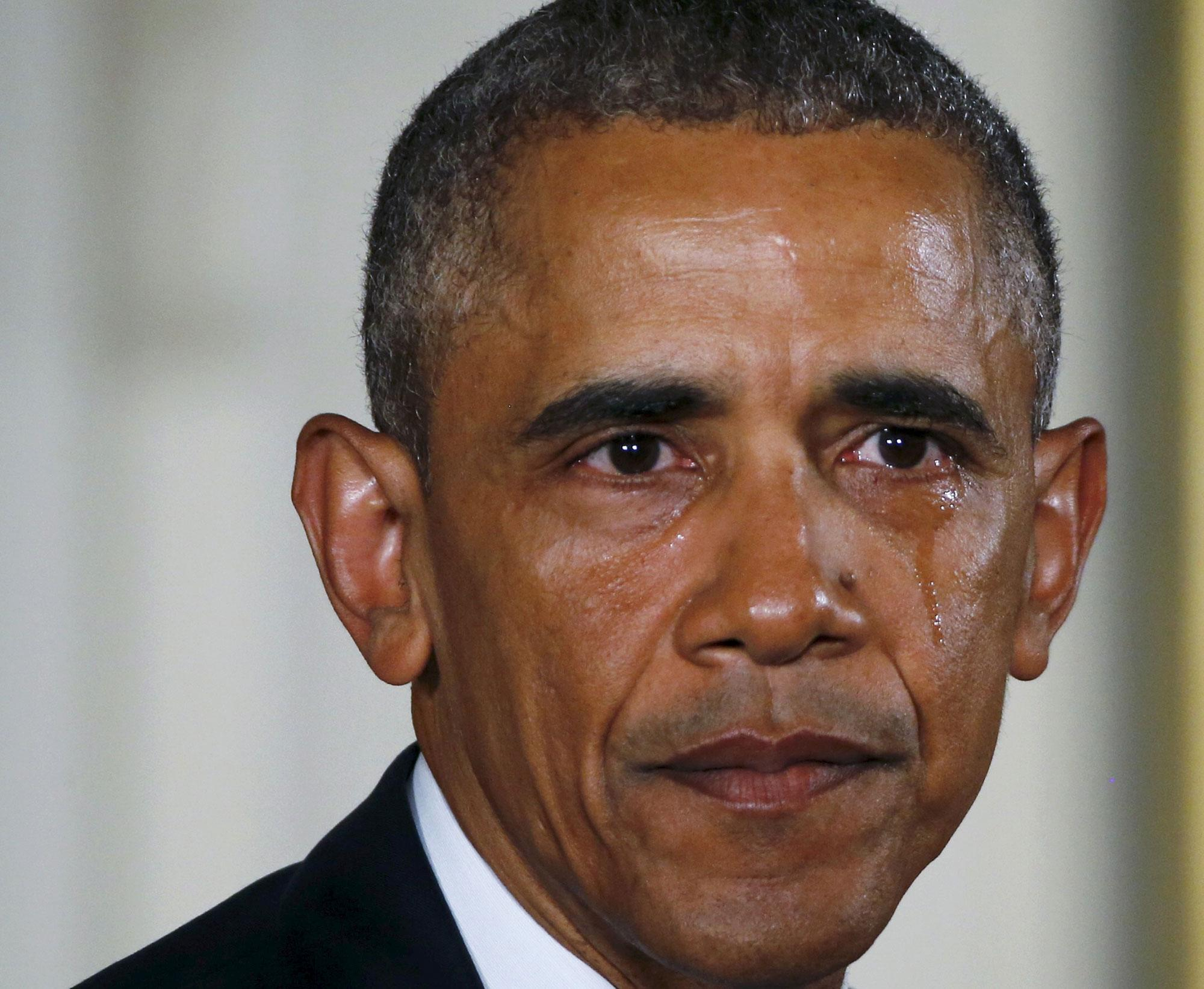 <p>JAN. 5, 2016 — U.S. President Barack Obama sheds a tear while delivering a statement on steps the administration is taking to reduce gun violence in the East Room of the White House in Washington. (Carlos Barria/Reuters) </p>