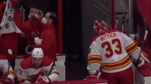 Flames' David Rittich gets pulled after soft goal, promptly headbutts wall