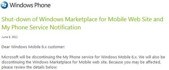 Marketplace for Windows Mobile website closing shop on July 15th, My Phone following suit