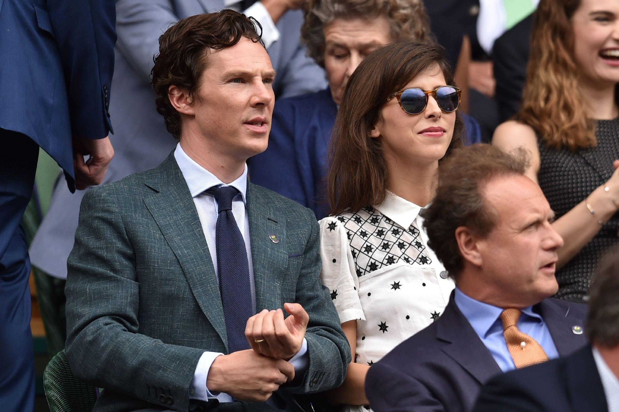 British actor Benedict Cumberbatch sits next to his wife Sophie Hunter.