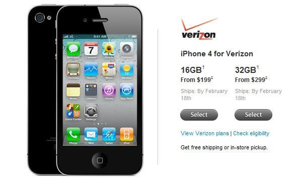 Verizon iPhone 4 now available to order / reserve for in-store pickup