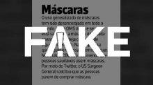 É #FAKE que uso de máscara contra o coronavírus tem sido desencorajado pela OMS e por governos de outros países