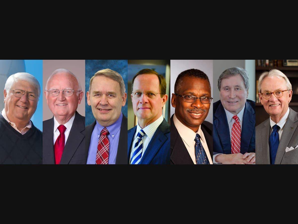 "From left: Robert O. ""Bob"" Baron, Cecil Batchelor, Marcus Bendickson, Jay Grinney, Lonnie Johnson, Joe Ritch and Stan Starns"