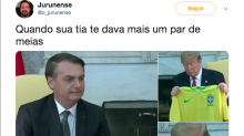 Encontro entre Bolsonaro e Trump rende memes na internet